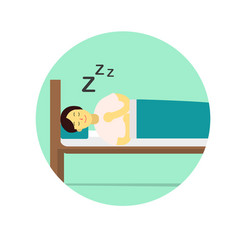 flat young man wear night suit sleep with pillow vector image
