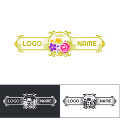 many flowers logo five vector image