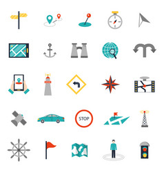 navigation flat style location pin pictogram vector image