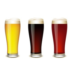 Set of glasses with beer vector image
