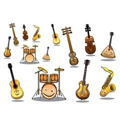 Cartoon musical instruments set vector image