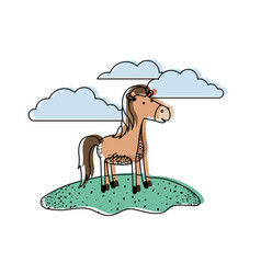 horse cartoon in outdoor scene with clouds in vector image vector image