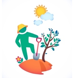 Man planting a tree and admire vector