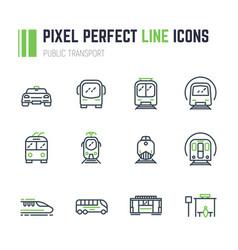 public transport 12 icon set vector image