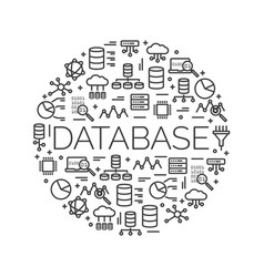 the word database surrounded by icons vector image vector image