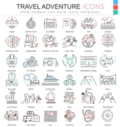 Travel adventures ultra modern outline line vector image