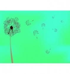 dandelion against green background vector image vector image