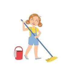Girl mopping the floor with bucket vector