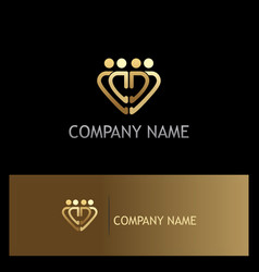 gold heart group logo vector image