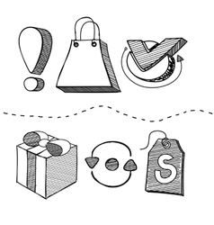 Hand Drawn Shopping Element Design vector image vector image