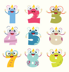 of funny cartoon numbers vector image vector image