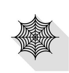 spider on web black icon with flat vector image vector image