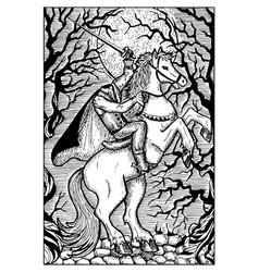 the headless horseman engraved fantasy vector image