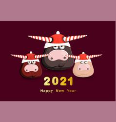 2021 year white bull congratulatory poster vector image