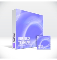 3d identity box with abstract violet lines cover vector