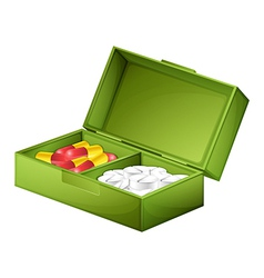 A medicine box with tablets and capsules vector