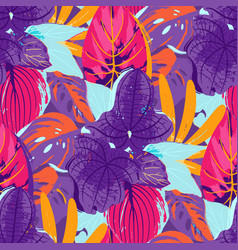 Abstract seamless pattern of exotic leaves vector
