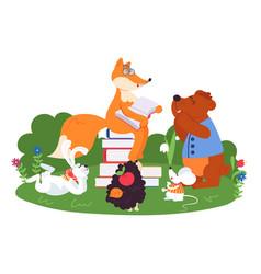Animal friends reading fun animals school bear vector
