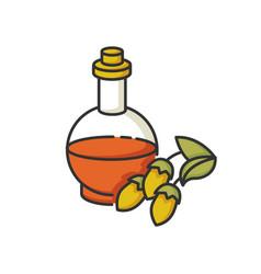 Argan oil rgb color icon essential serum in glass vector