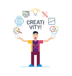 art man character in colorful stroke tees and vector image
