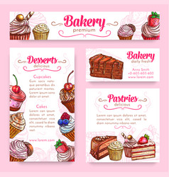 Bakery and pastry desserts banner template set vector