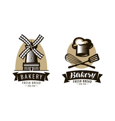 bakery bakeshop logo or label bakehouse baking vector image