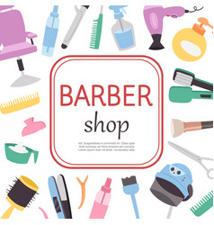 Barber shop cartoon poster barber work tools vector