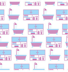 bathroom bathtub shower and furniture seamless vector image