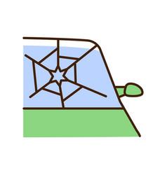 Broken car glass rgb color icon vector