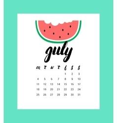 Calendar for July 2016 vector image