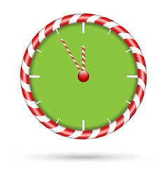 Candy cane clock isolated on white vector