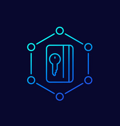 Card key icon line vector