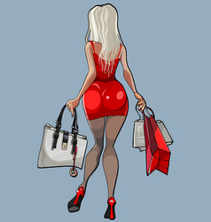 cartoon beautiful woman steps around with bags in vector image