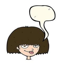 Cartoon mean female face with speech bubble vector