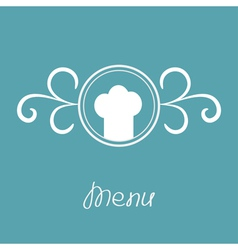 Chef hat and round abstract frame Menu card vector image