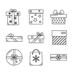 collection gift box icons vector image