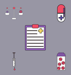 Collection of icons and medical stuff vector