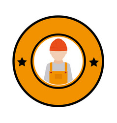 Color circular emblem with worker with helmet vector