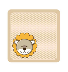 colorful greeting card with picture lion animal vector image