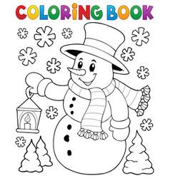 Coloring book snowman topic 2 vector