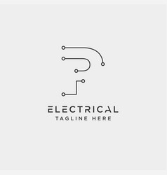 Connect or electrical p logo design icon element vector