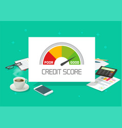 Credit score rating report analysis check or vector