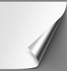 Curled metallic corner of paper on gray background vector