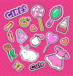 Cute girl fashion stickers patches and badges vector