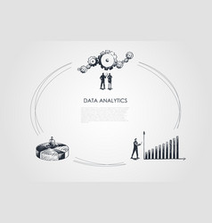 data analytics - business people looking at vector image