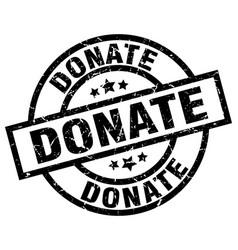 Donate round grunge black stamp vector
