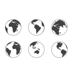 earth globe black silhouette isolated on white vector image
