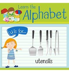 Flashcard letter u is for utensils vector
