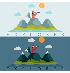 flat design of explorer with spyglass on the vector image