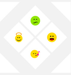 Flat icon gesture set of descant wonder frown vector